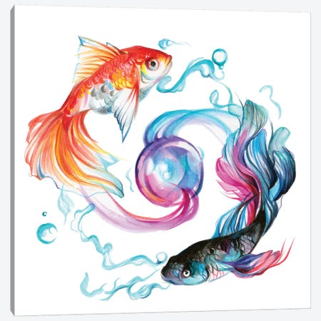 Fish - Pair Canvas Print #KLI46} by Katy Lipscomb Canvas Artwork