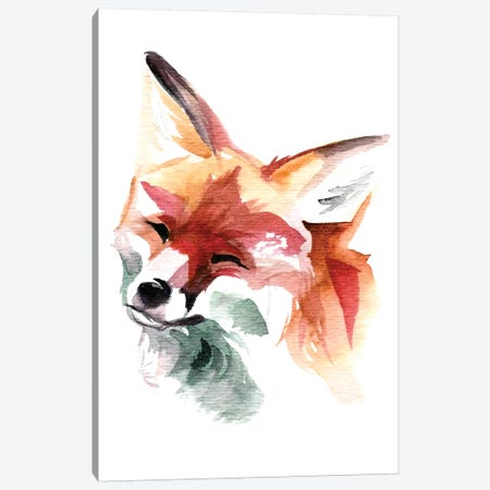 Happy Fox Canvas Print #KLI57} by Katy Lipscomb Art Print