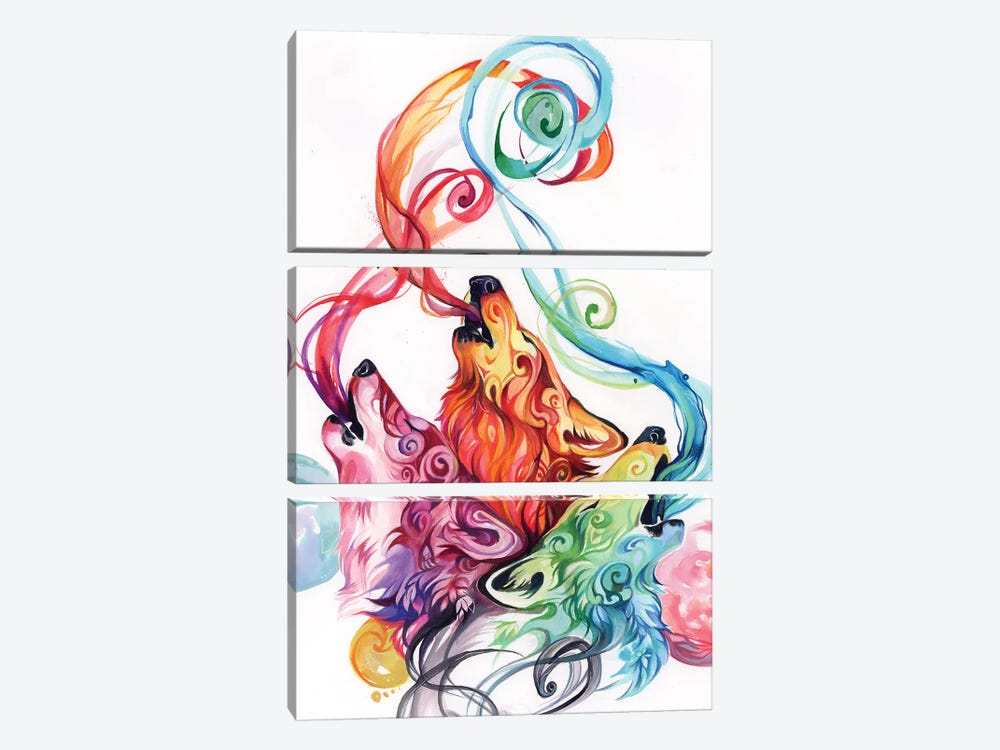 Howling Wolf Triad II by Katy Lipscomb 3-piece Canvas Print