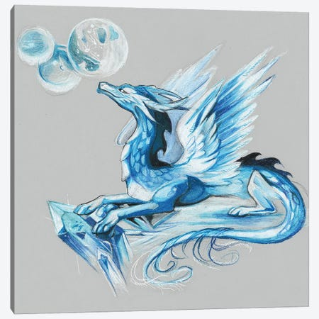 Ice Dragon Canvas Print #KLI65} by Katy Lipscomb Canvas Artwork