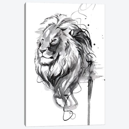 Ink Wash Lion Canvas Print #KLI66} by Katy Lipscomb Canvas Artwork