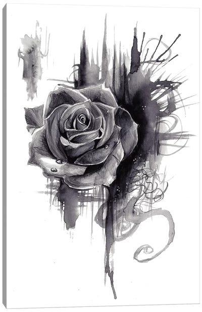 Ink Wash Rose Canvas Art Print