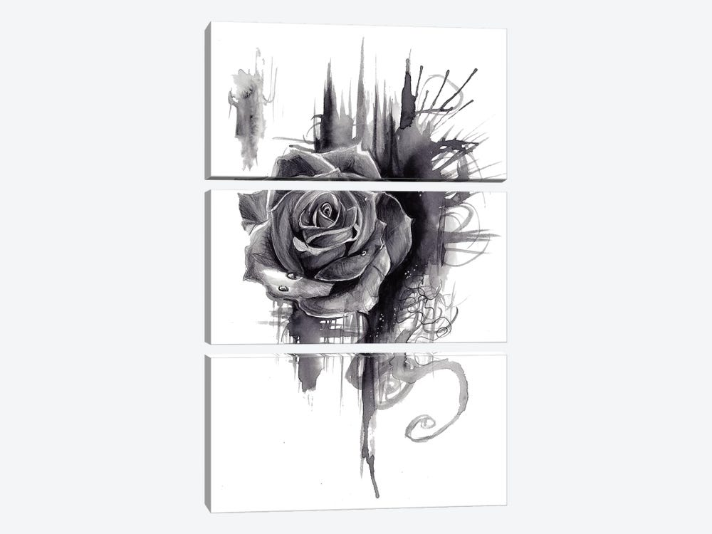 Ink Wash Rose by Katy Lipscomb 3-piece Canvas Artwork