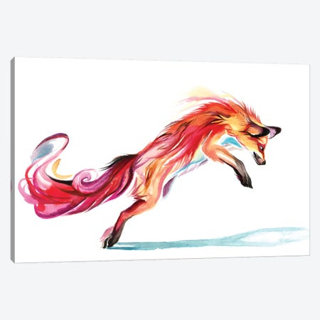 Jumping-Fox Canvas Print #KLI69} by Katy Lipscomb Canvas Art Print