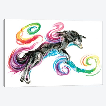 Jumping Rainbow Fox Canvas Print #KLI70} by Katy Lipscomb Canvas Artwork