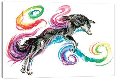 Jumping Rainbow Fox Canvas Art Print