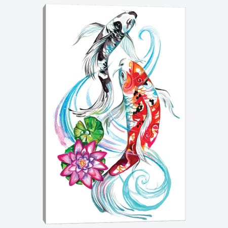 Koi Pair Canvas Print #KLI72} by Katy Lipscomb Canvas Wall Art
