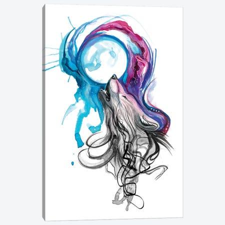 Lunar Wolf Canvas Print #KLI79} by Katy Lipscomb Canvas Wall Art