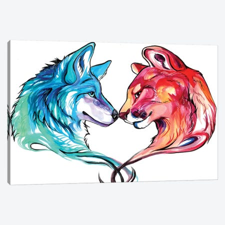 Mountain Lion and Wolf Canvas Print #KLI83} by Katy Lipscomb Canvas Art Print