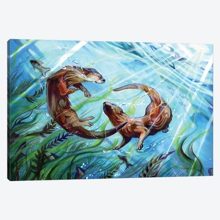 Otters Canvas Print #KLI89} by Katy Lipscomb Canvas Print