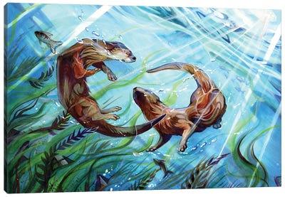 Otters Canvas Art Print