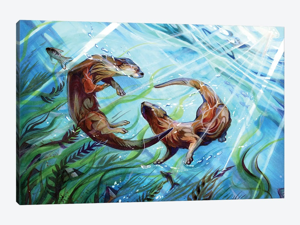 Otters by Katy Lipscomb 1-piece Canvas Wall Art