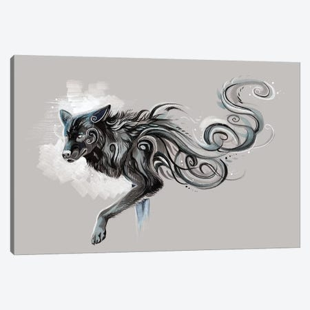 Black Wolf Canvas Print #KLI8} by Katy Lipscomb Canvas Art Print