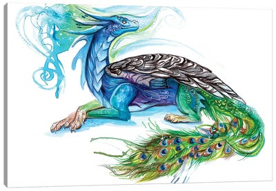 Peacock Dragon Canvas Art Print