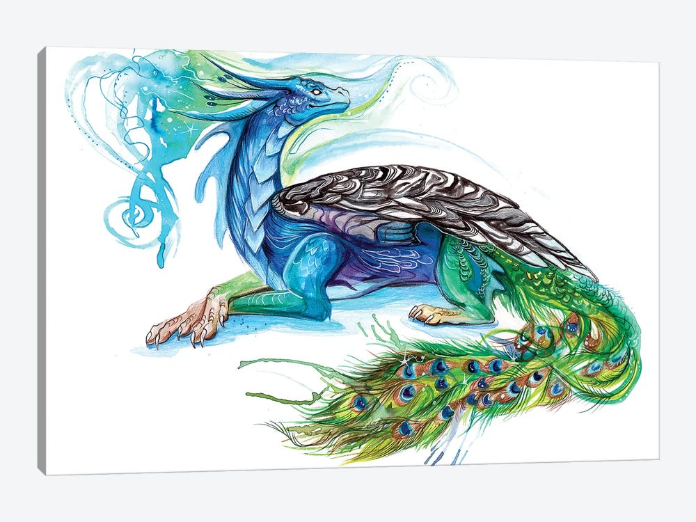 Peacock Dragon by Katy Lipscomb 1-piece Art Print