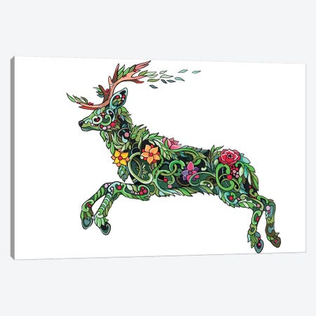 Plant Stag Canvas Print #KLI97} by Katy Lipscomb Canvas Art Print
