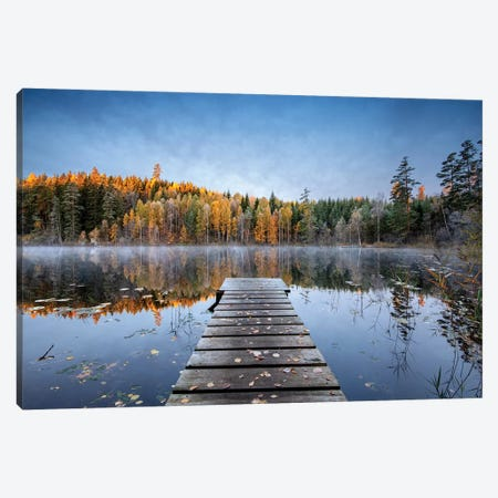 Autumn Pier Canvas Print #KLR203} by keller Art Print