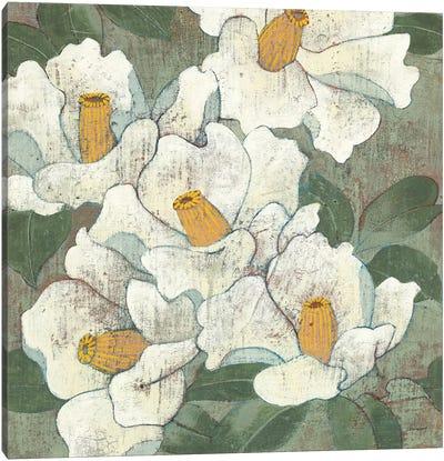 White Flowers I Dark Canvas Art Print