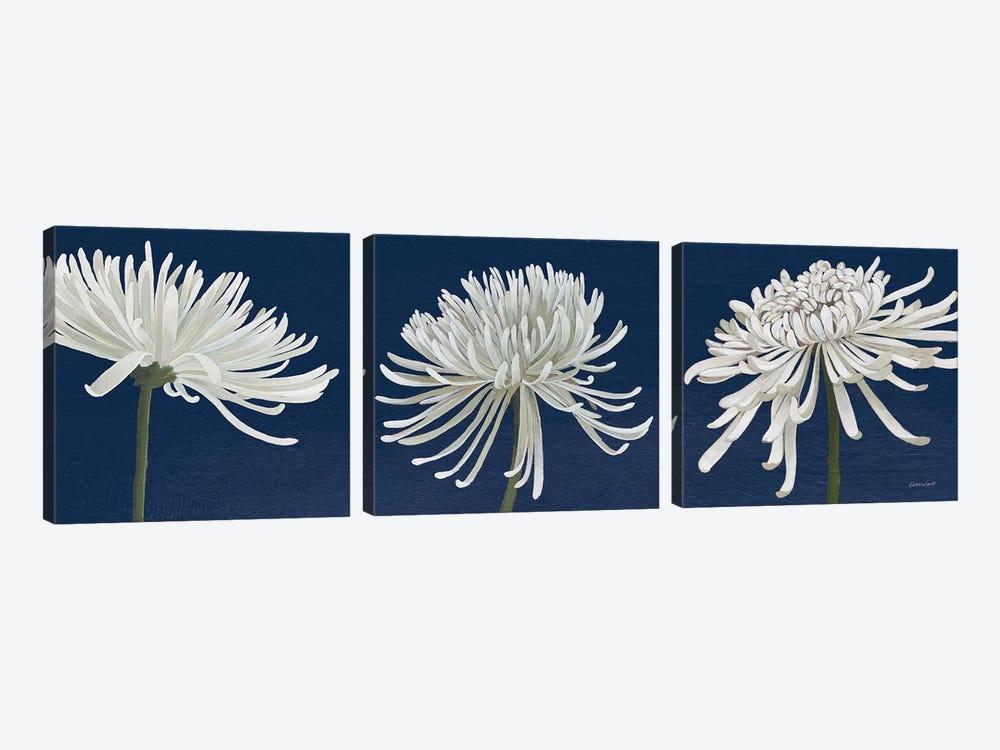 Morning Chrysanthemums V Dark Blue by Kathrine Lovell 3-piece Canvas Wall Art
