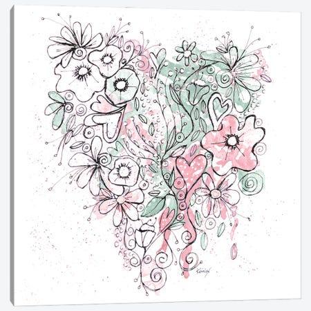 Blooming Heart II Canvas Print #KLX17} by Krinlox Canvas Artwork