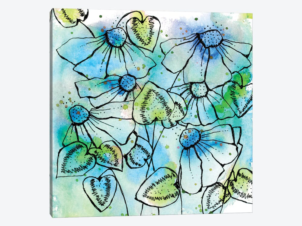 Blue Bursts and Blossoms Square by Krinlox 1-piece Canvas Print
