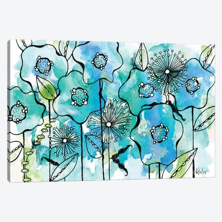 Blue Tone Garden Canvas Print #KLX20} by Krinlox Canvas Art