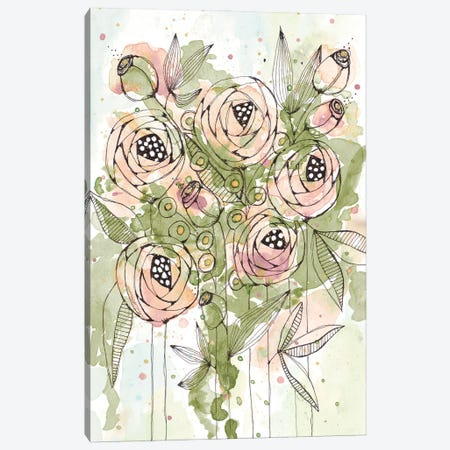 Blush and Green Floral Canvas Print #KLX21} by Krinlox Canvas Artwork