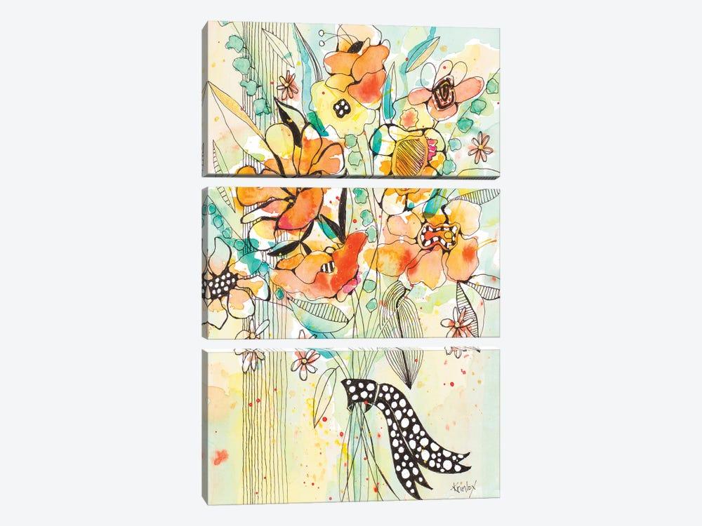 Bursting Wildflower Bouquet by Krinlox 3-piece Canvas Print