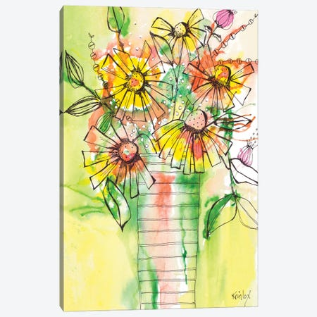 Bursting Wildflowers in Vase Canvas Print #KLX23} by Krinlox Canvas Wall Art