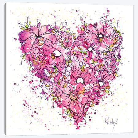 Heart of Flowers Canvas Print #KLX29} by Krinlox Canvas Artwork