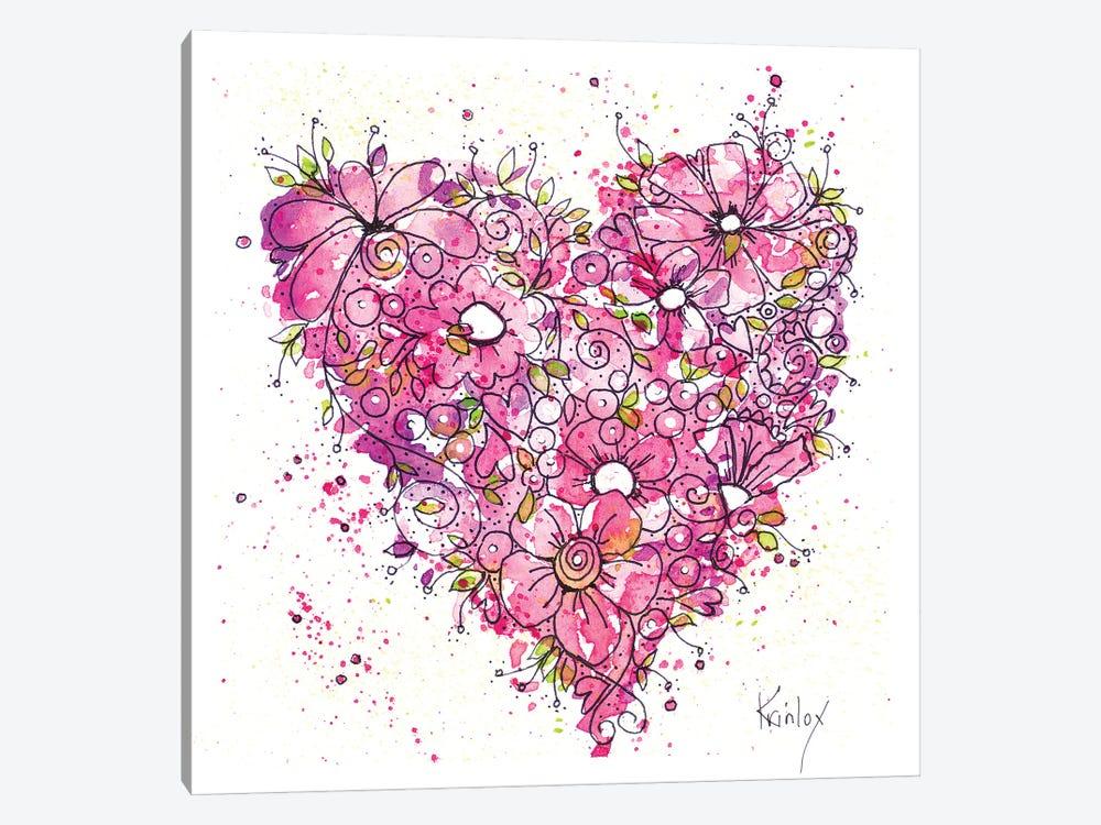 Heart of Flowers by Krinlox 1-piece Canvas Wall Art