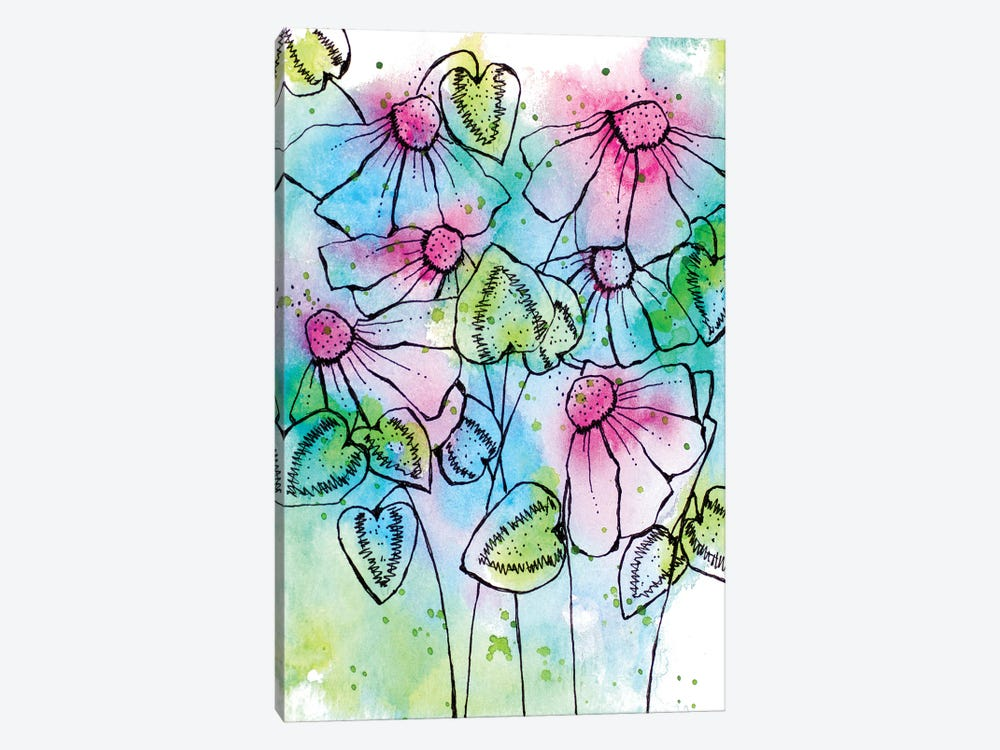 Vibrant Bursts and Blossoms by Krinlox 1-piece Canvas Print