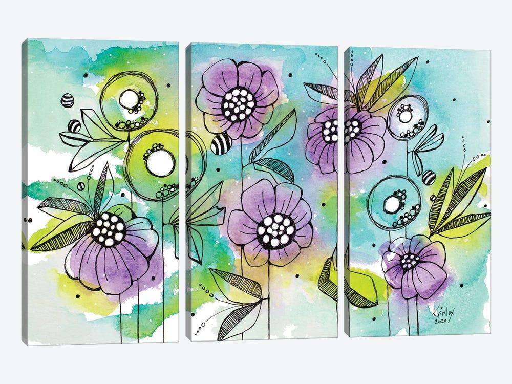 Vibrant Garden Beauties by Krinlox 3-piece Canvas Art