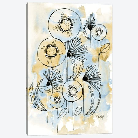 Yellow and Blue Blooms I Canvas Print #KLX34} by Krinlox Canvas Artwork