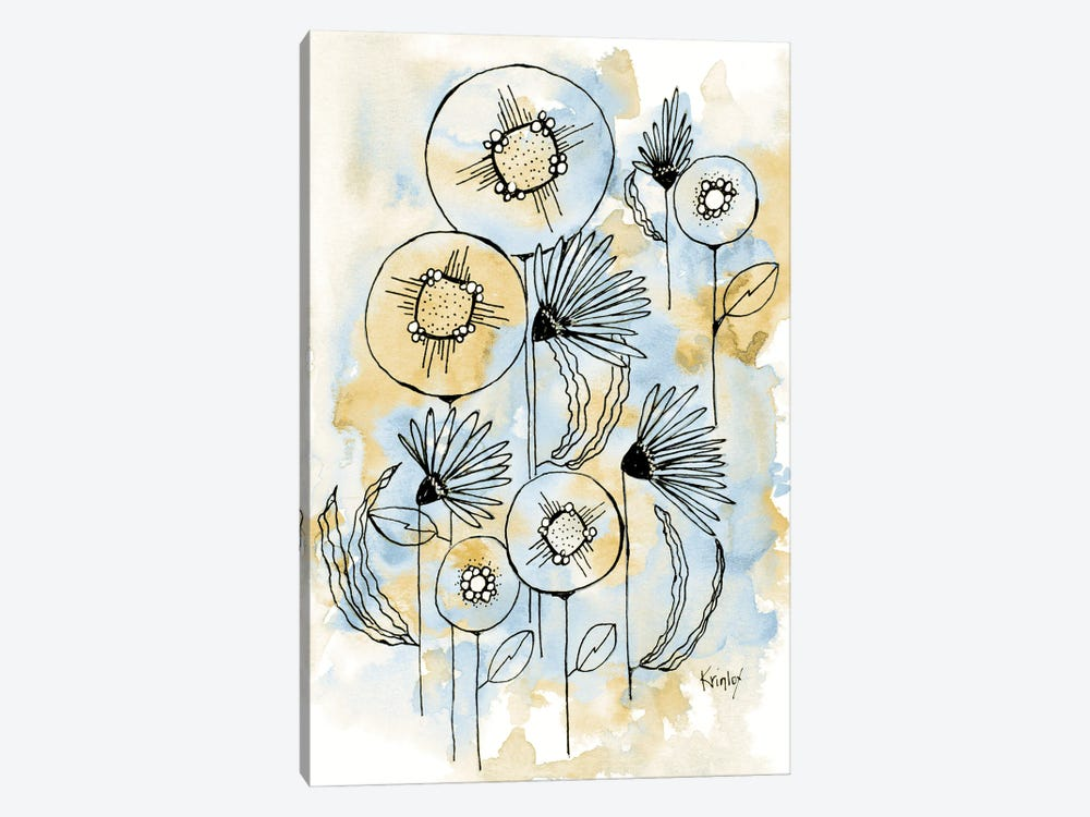 Yellow and Blue Blooms I by Krinlox 1-piece Canvas Art