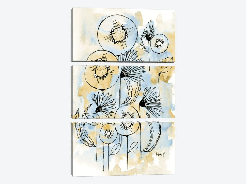 Yellow and Blue Blooms I by Krinlox 3-piece Canvas Art