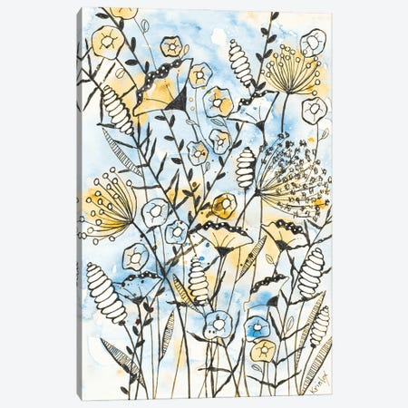 Yellow and Blue Blooms II Canvas Print #KLX35} by Krinlox Canvas Artwork