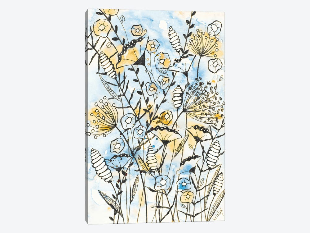 Yellow and Blue Blooms II by Krinlox 1-piece Canvas Print