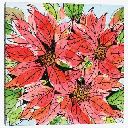 Vibrant Poinsettias I Canvas Print #KLX38} by Krinlox Art Print