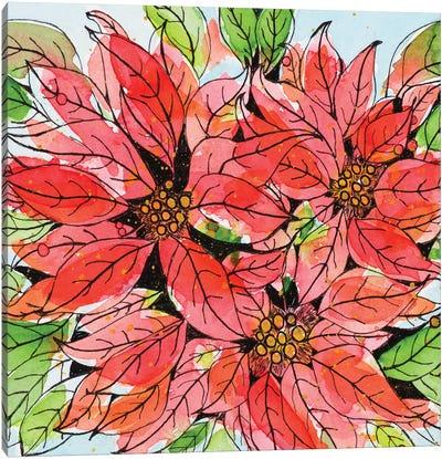 Vibrant Poinsettias I Canvas Art Print