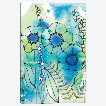 Blue Watercolor Wildflowers I Canvas Print #KLX6} by Krinlox Canvas Wall Art