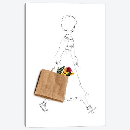 Flowers Help Canvas Print #KLY13} by Kelly L Illustration Canvas Art