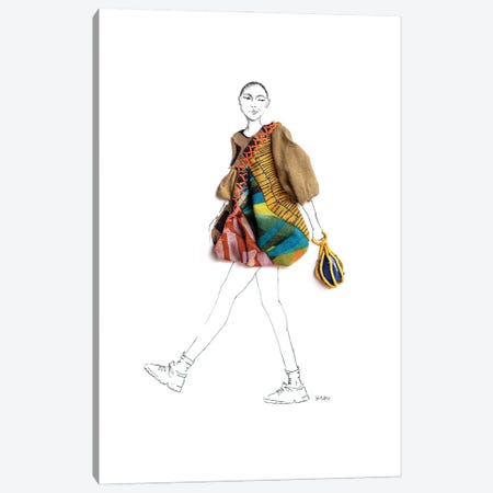 Leg Kick Canvas Print #KLY18} by Kelly L Illustration Canvas Artwork