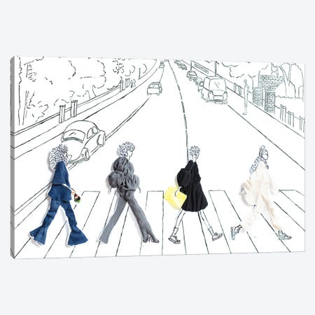 Abbey Road Girls Canvas Print #KLY1} by Kelly L Illustration Canvas Art