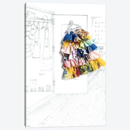 Summer Closet Fashion Canvas Print #KLY30} by Kelly L Illustration Canvas Wall Art