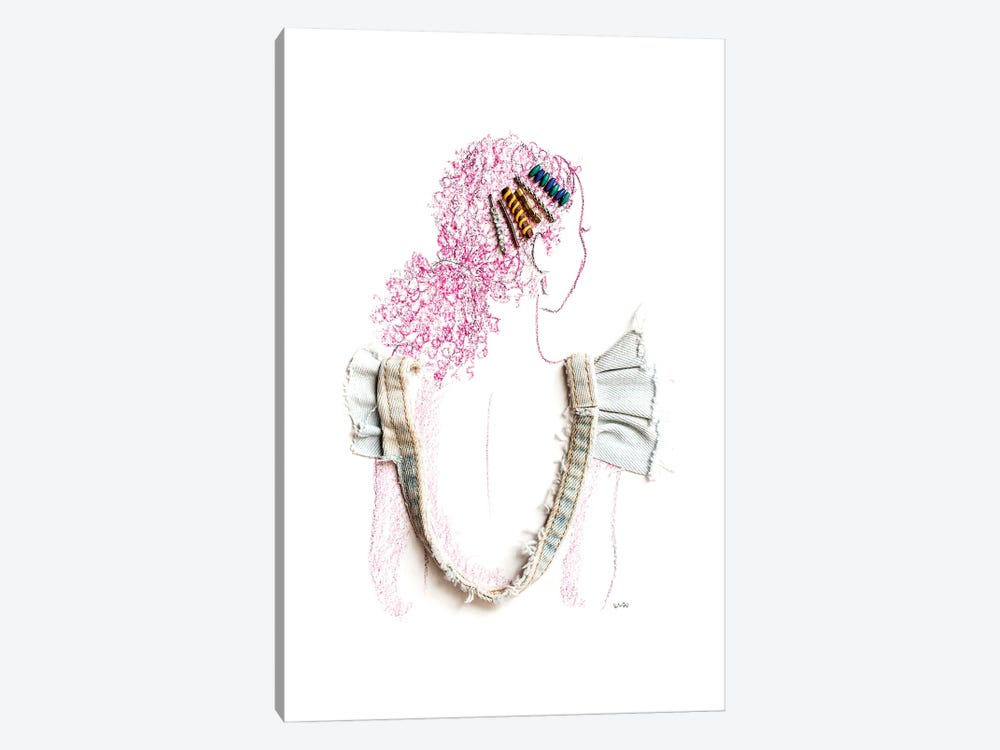 The Girl with the Barrettes by Kelly L Illustration 1-piece Canvas Artwork