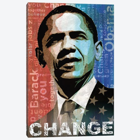 Obama: Change Canvas Print #KMA36} by Keith Mallett Canvas Wall Art