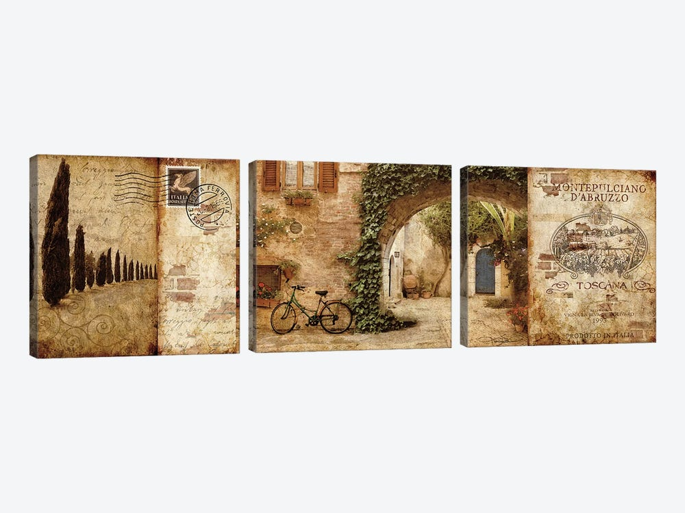 Tuscan Courtyard by Keith Mallett 3-piece Canvas Artwork