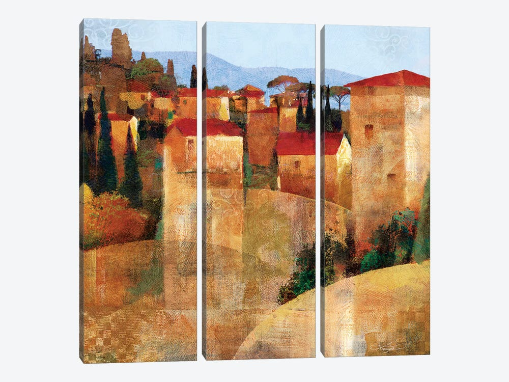 Tuscan Hillside by Keith Mallett 3-piece Canvas Art Print