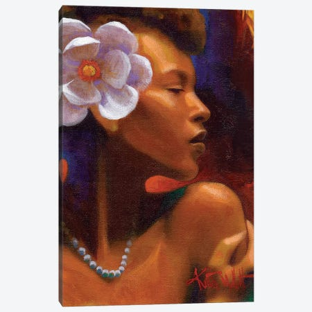 Woman With Pearl Necklace Canvas Print #KMA9} by Keith Mallett Canvas Artwork